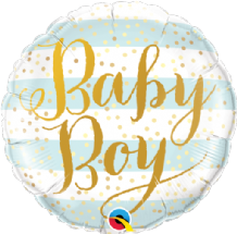 "Baby Boy Blue Stripes Foil Balloon (18"") 1pc"